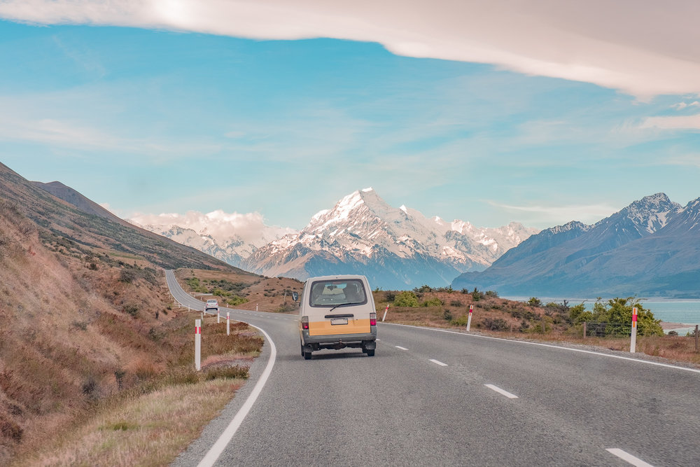 Driving into Mt. Cook National Park.
