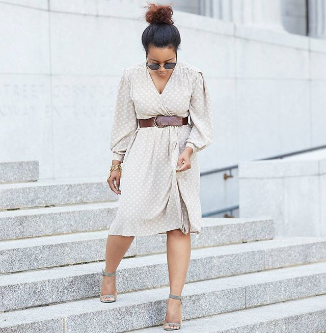 Simple.  Top Knot & Wrap Dress Combo! #ootd deets on TheUrbaneHeiress.com link in bio ♥ Ya! XOXO  #photographer @jmpimage  #bostonblogger #style #fashionblogger #nyfw #naturalhair #blogger #fashion #ootd  mfw #naturalhair #teamnatural_ #teamnatural #curls