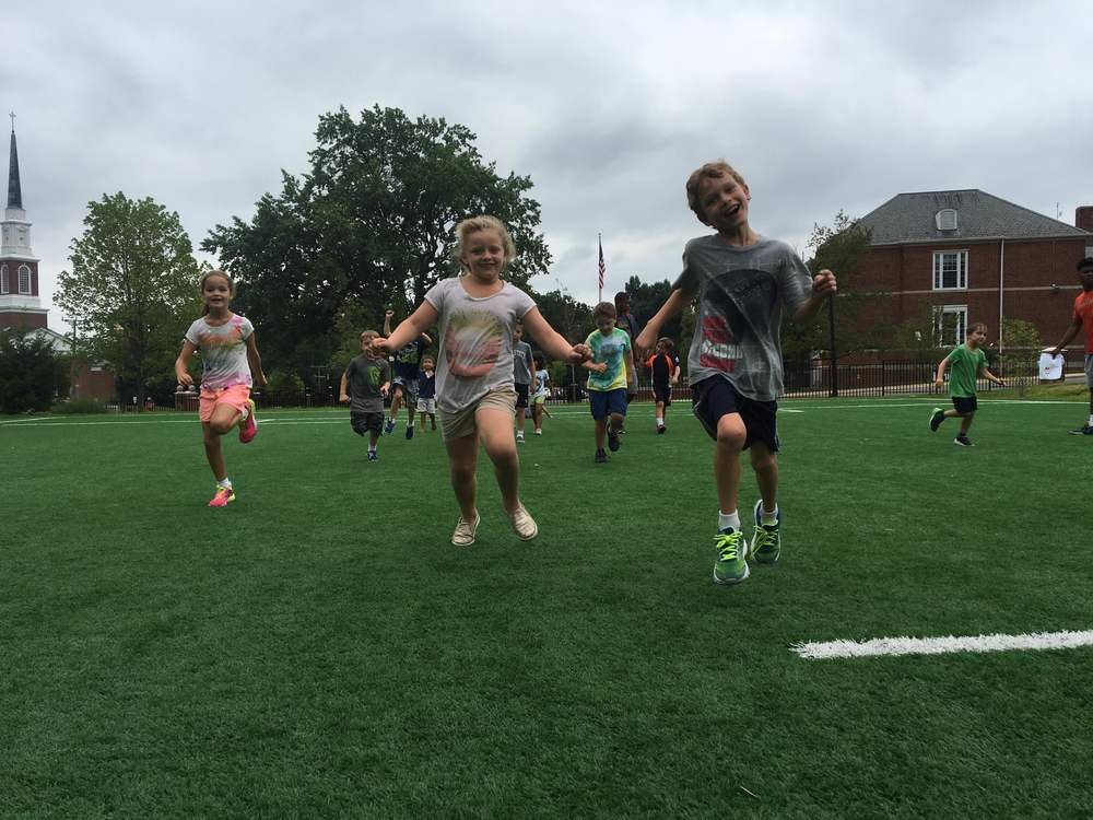 Our campers have a lot of energy as they play games during the fit kids module!