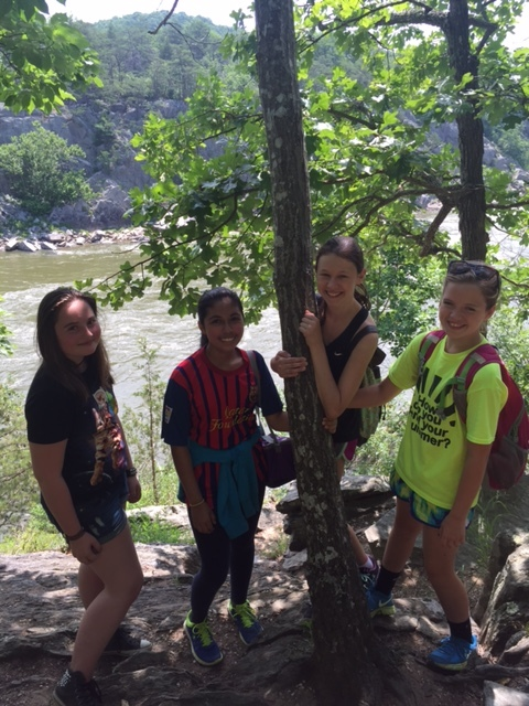 Field Trip Campers hiking at Great Falls National Park