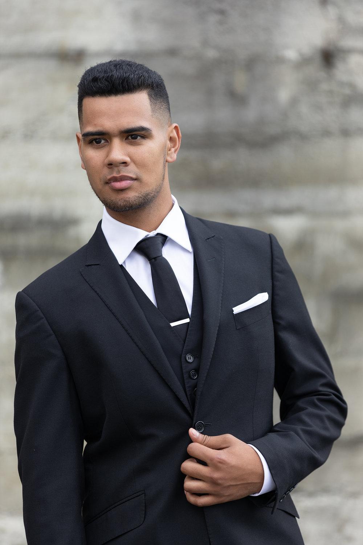 Romeo - Regular Fit- Black- Peak lapel- 2 button suit jacket- Straight leg suit trouserHire price $120 NZDReg: 88—136Short: 92—120Tall: 92—120