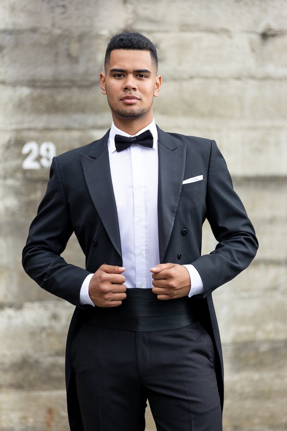 EVENING TaILS - - Black- Peak lapel with satin finish- Open tailed suit jacket- Straight leg trouserHire price $120 NZDReg: 88—124Short: 92—120Tall: 92—120