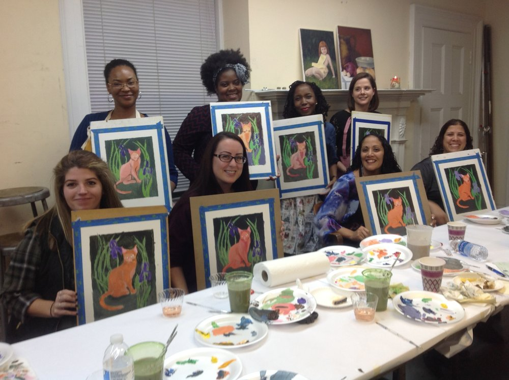 The Junior League of Poughkeepsie get creative at a Barrett Sip & Paint.