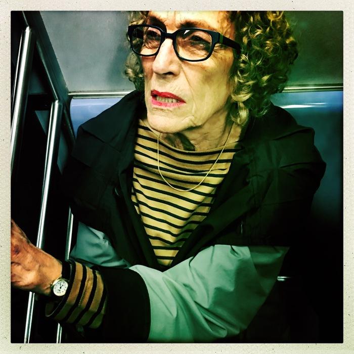 """Matt Bialer-""""Old Woman on Train"""" (22""""x22"""")-$500"""