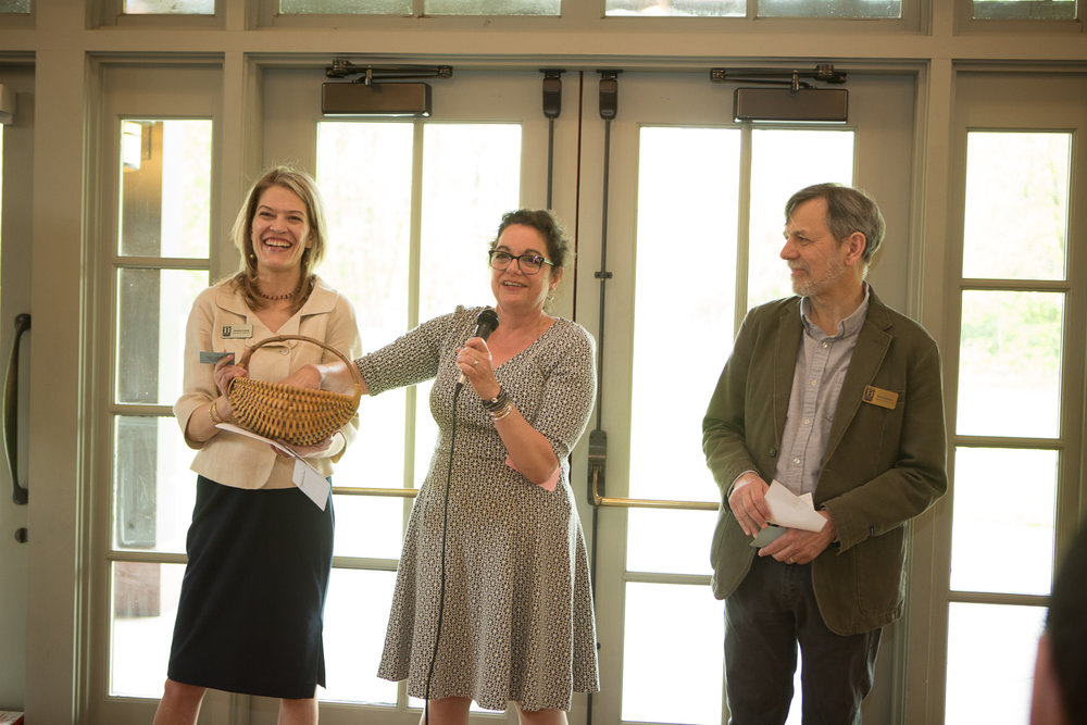 (l-r) Executive director Joanna Frang, Cathy Schmitz, Board President Karl Schmitz. The Drawing Begins...