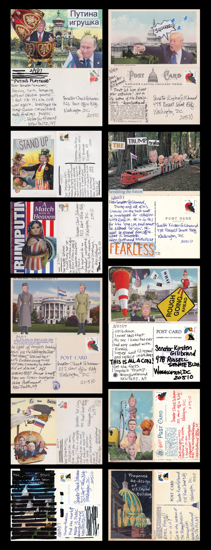"Helen Gutfreund - ""Postcards From The Resistance: Russia"" (30""x11.5"") - $250"