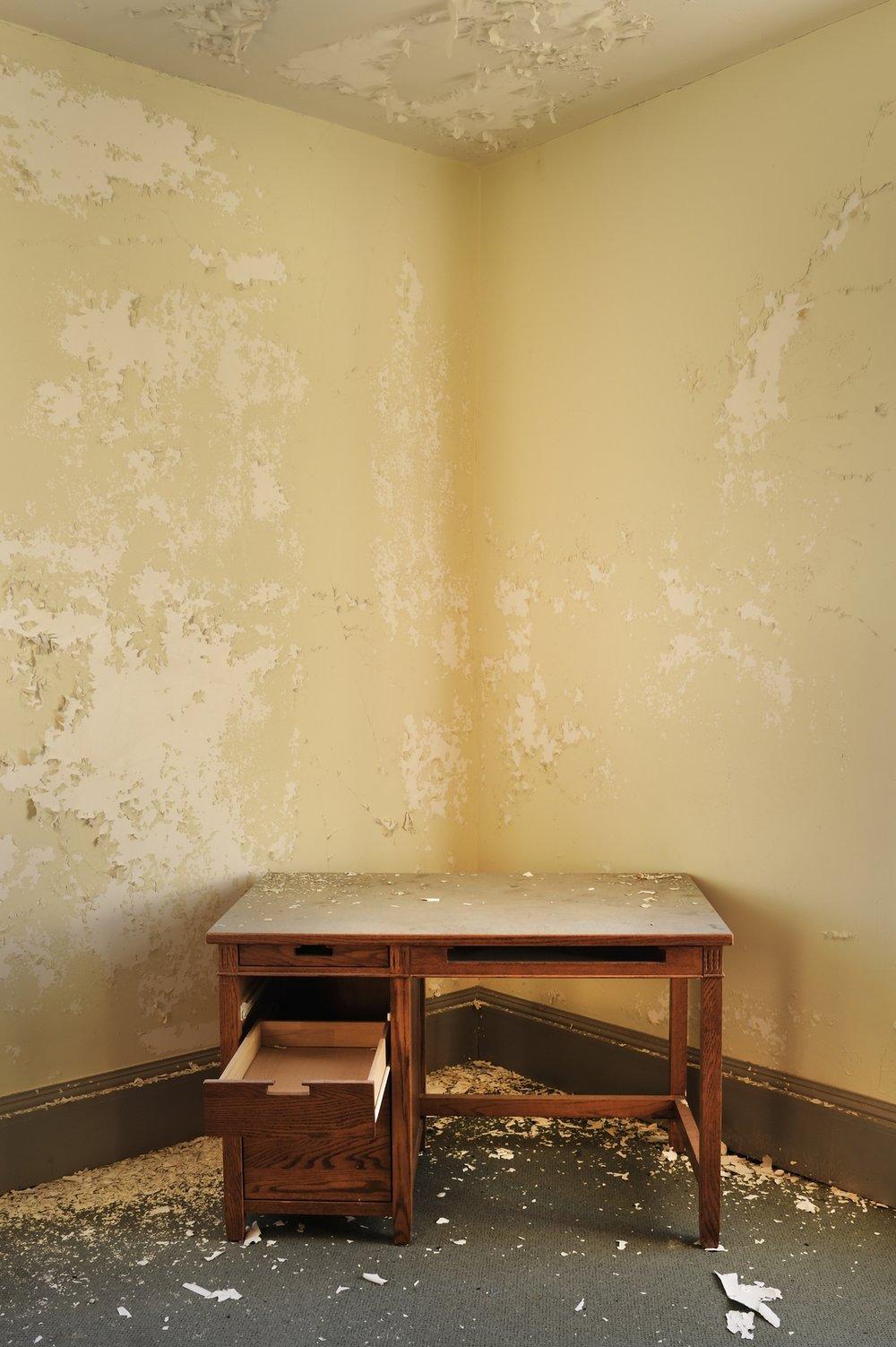 "Andrew Feiler -   ""Dorm Room Desk-Gaines Hall""   (16""x24"") -  $1150"