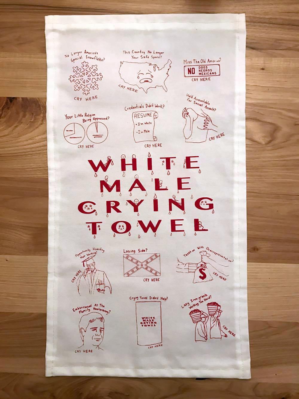 "Jackson Bryant -   ""White Male Crying Towel""   (25""x15"") -  $400"