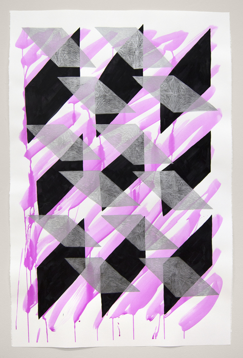 "Kate Kosek   - "" And I Saw My Reflection (Magenta 1) ""   (31""x 44.5"") -  $2100"