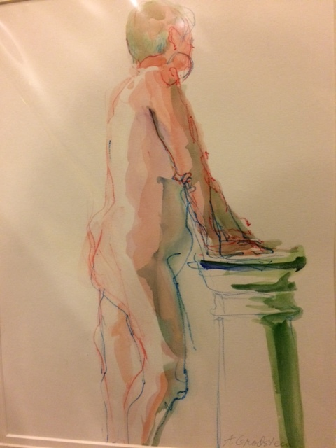 Adele Grodstein,  Green Column,  Watercolor and pencil