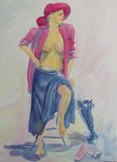 "Jill Baratta ""Woman Resting""  Watercolor on paper - $400"