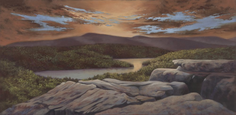 Sunset, North South Lake , by Carolyn Hutchings Edlund,  Oil on Canvas  Gallery Value: $900