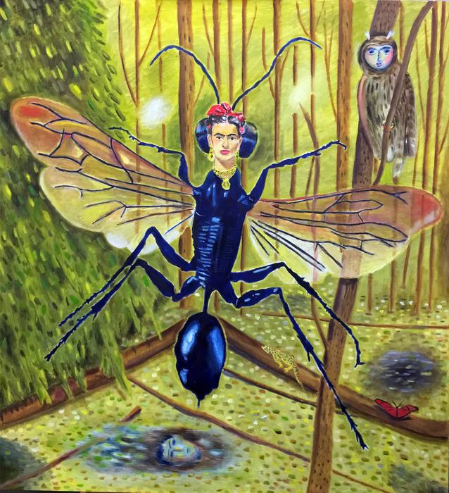 "Santiago Cohen -  ""   Frida Bug   ""  (58""x 54"") - $4000"
