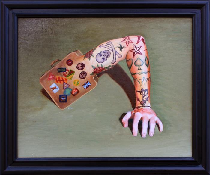 "Jack Delaney -  ""Creature Baggage""  (23.5"" x 19.5"") -  NFS"