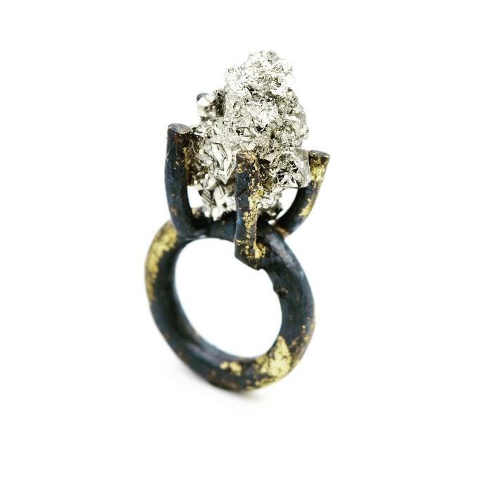 "Jill Herlands - ""  Pyrite and Gold Ring""   (.75"" x .25"") -  $459.00"