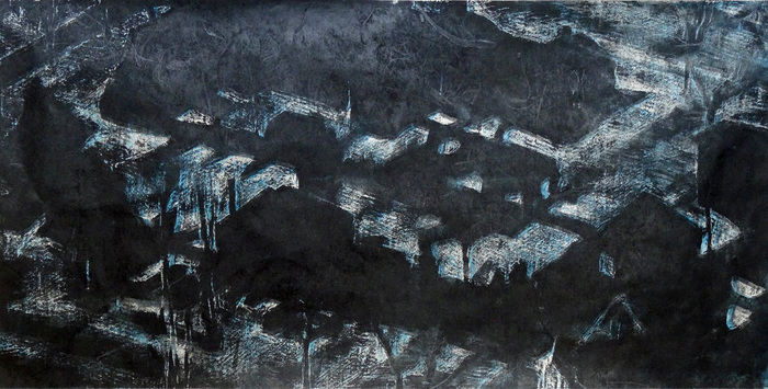 "Helen Cantrell-  ""Suburbia Night Grid"" (18"" x 36"") -  $700"