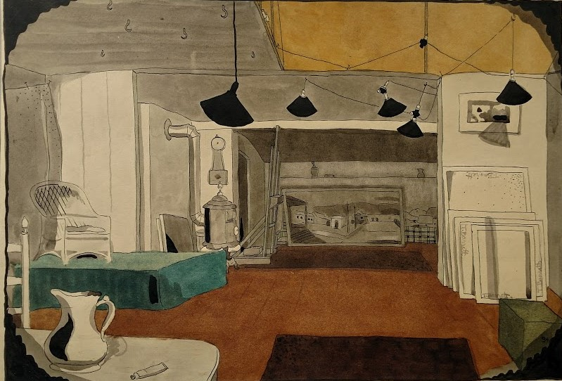 Barrett's watercolor of the studio, facing south.