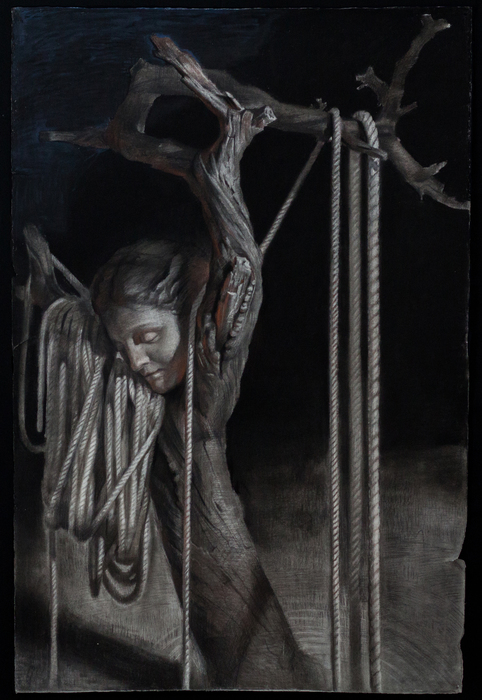 "Ian Healy  ""Disconnect""  (40"" x 60"")Charcoal, Chalk, Airbrush -  $3200"