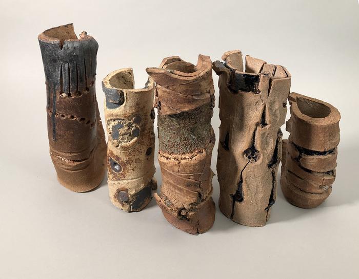 "John Humphries  ""six through ten of 49""  (variable) High-Fire Raku Ceramic, Glaze Paste, Iron Oxide-  $2000"