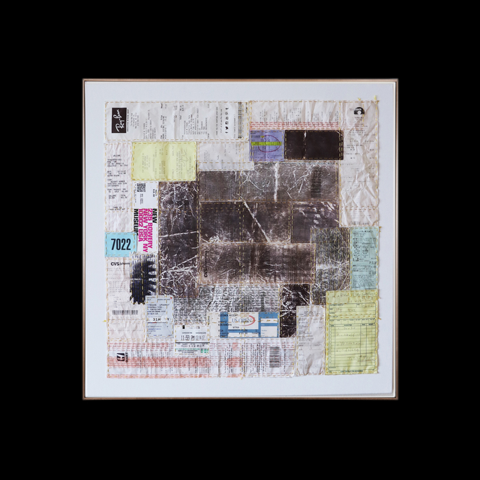 "Dong Kye Kim  ""Composition with Hidden Whispers #1""  (25"" x 25"") Handmade Needlework with Paper Receipts on Swiffer -  NFS"