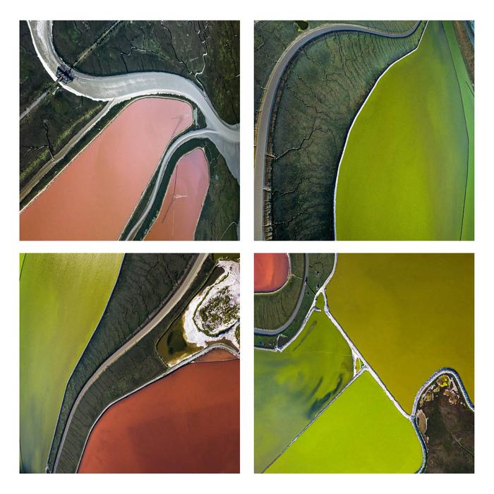"Barbara Boissevain -   Salt Pond Grid No. III -   Dye Sublimination on Aluminum (15"" x 15"")  $400"