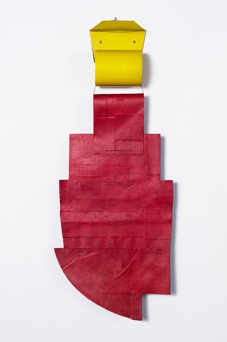 """Julie Henry -   Special Construction no. 6     -   Acrylic paint, waxed twine, paper, vintage metal bookend (25"""" x 10"""" x 3"""" )  $1200"""