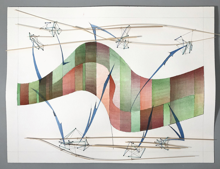 """John Humphries -   Ananzi and the Hornets     -   Water color, Wood, Thread (18"""" x 24"""")  $1200"""