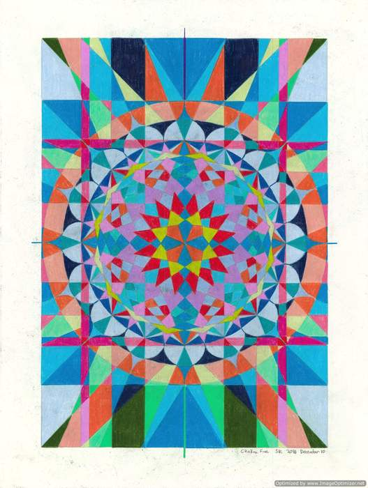 """Stephen Kenney -   Chakra 5 -   Colored Pencil (18"""" x 24"""")  $100"""