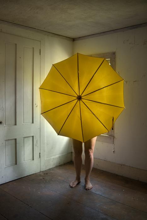 "Jo Ann Chaus -   Yellow Umbrella -   Archival Inkjet (17"" x 22"")  $350"