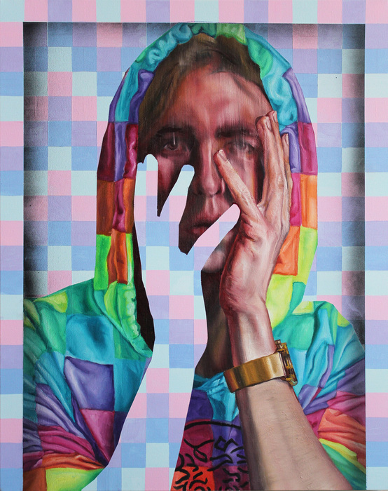 "Dean Christensen -   Selfie Glitch 9     -   Oil and Acrylic on Canvas (24"" x 30"")  $900"