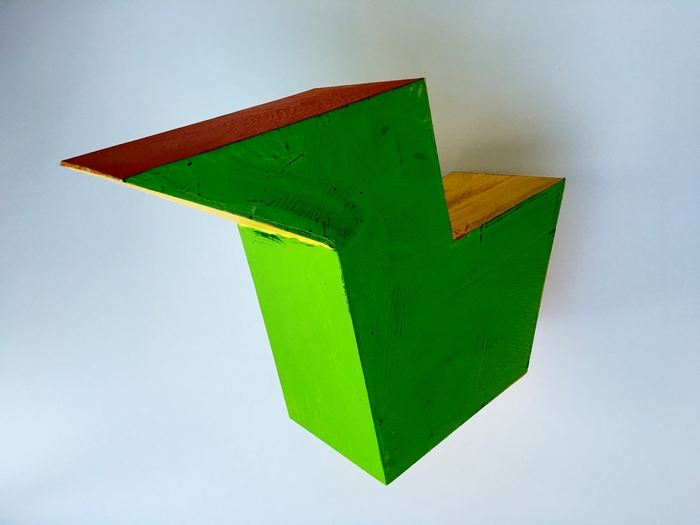 """Scott Mossman -   Chartreuse with Red and Yellow     -   Acrylic on Wood (15"""" x 19"""" x 7.5"""" )  $3000"""
