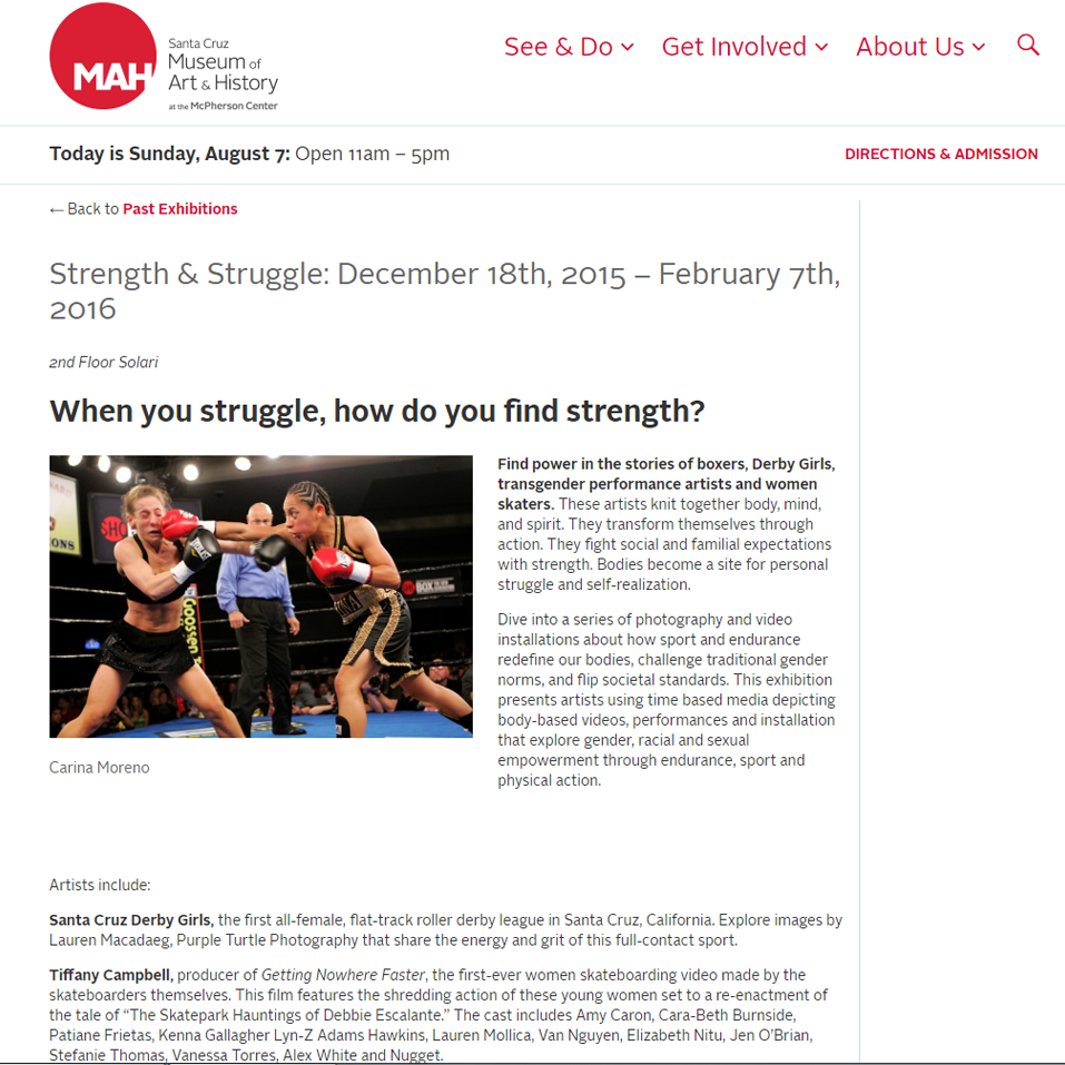 "Strength & Struggle: December 18th, 2015 – February 7th, 2016  ""When you struggle, how do you find strength?"""