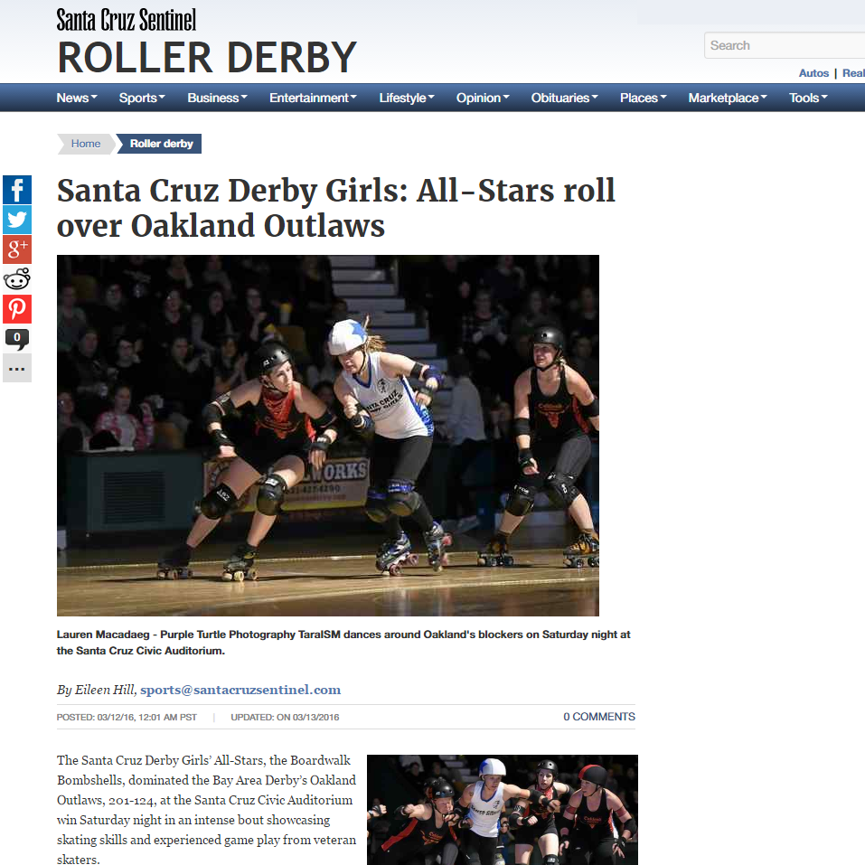 Santa Cruz Sentinel: Santa Cruz Derby Girls: All-Stars roll over Oakland Outlaws By Eileen Hill