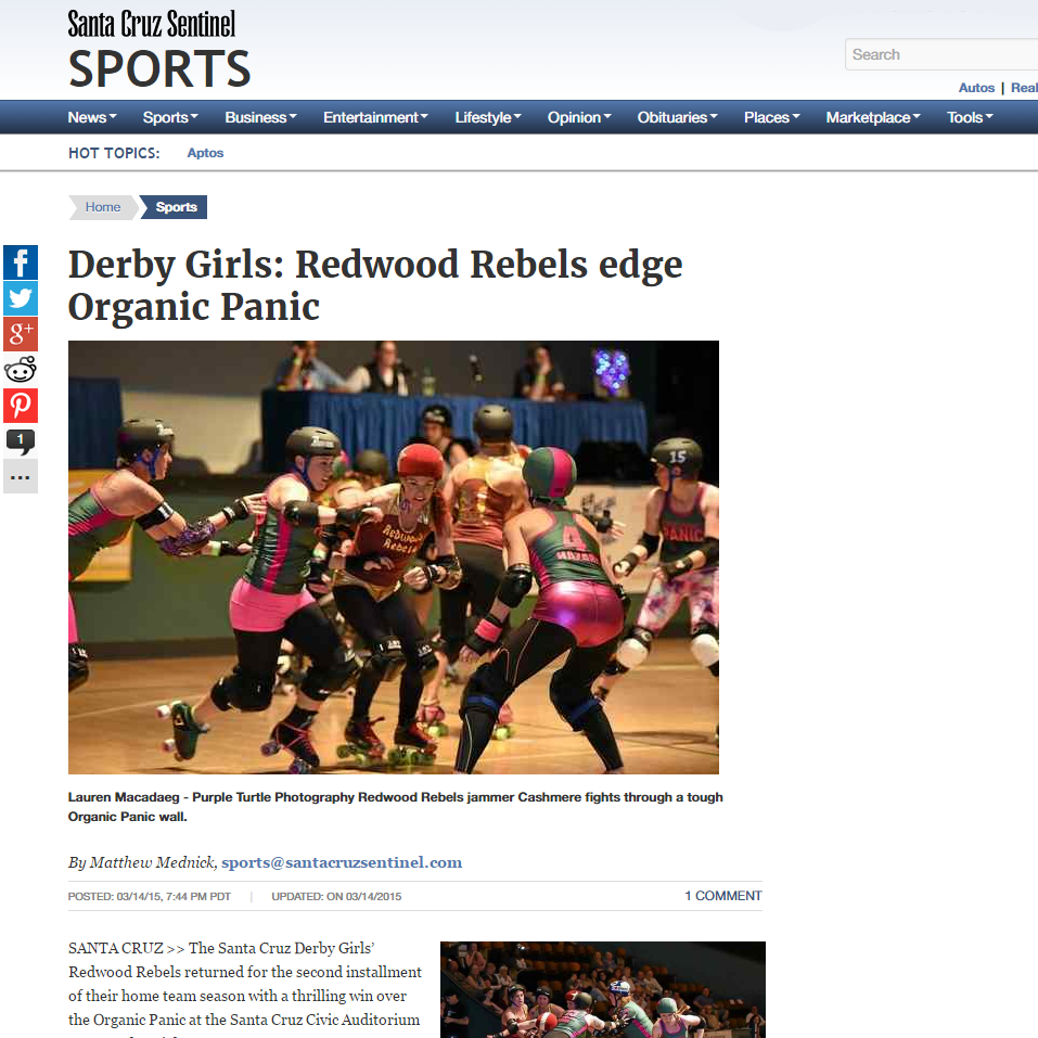 Santa Cruz Sentinel: Derby Girls: Redwood Rebels edge Organic Panic By Matthew Mednick