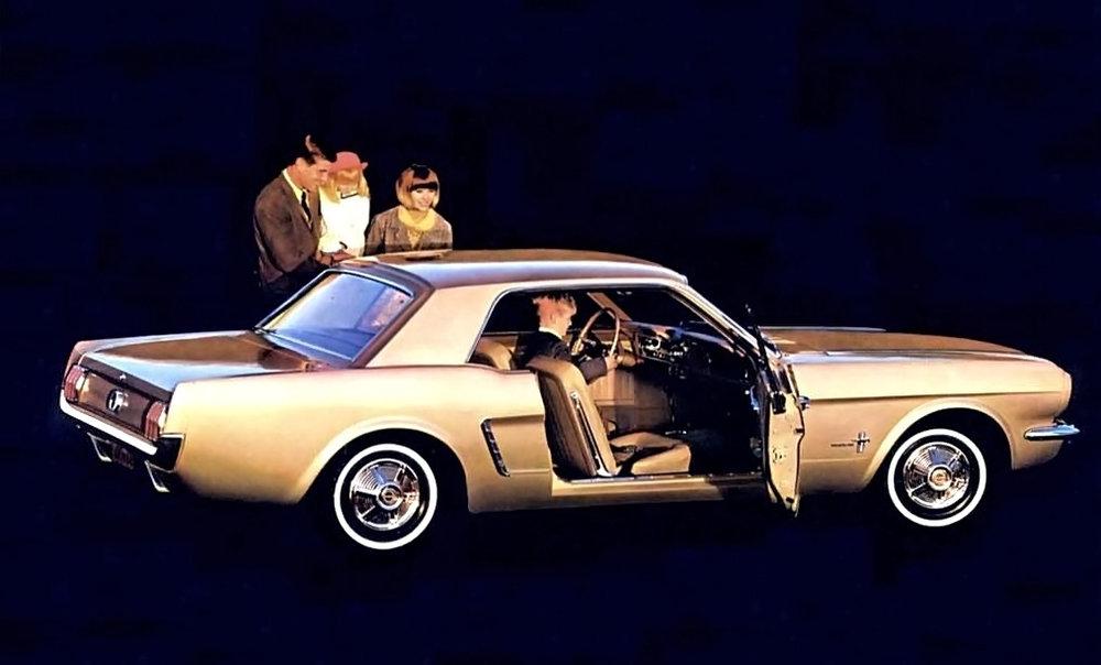1966 Mustang hardtop - gold with beige interior