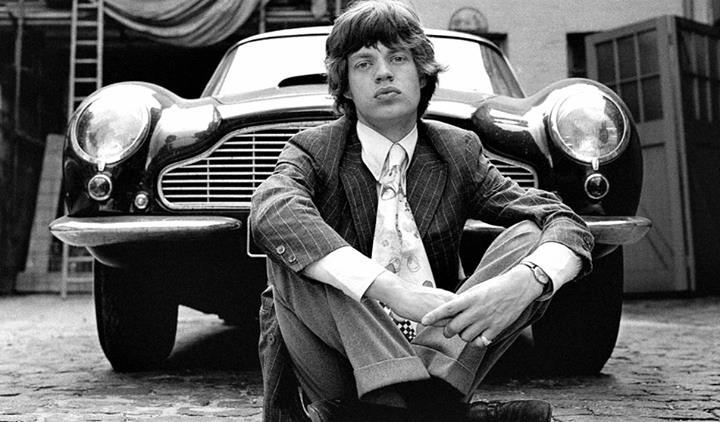 Mick Jagger and his Aston Martin DB5