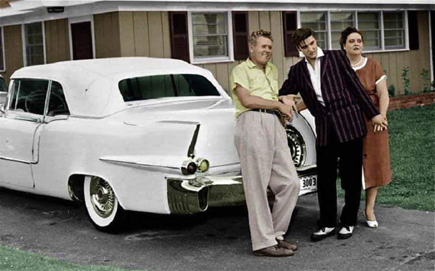 The Presley's - Vernon, Elvis and Gladys with the '57 Cadillac