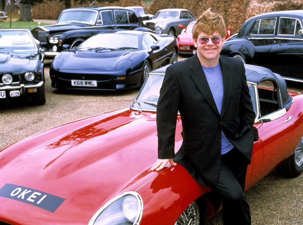 Elton John's E-Type convertible and other cars in his collection