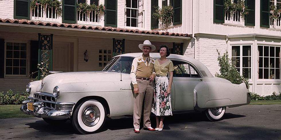 The singing cowboy - Gene Autry and wife with his 1950 Cadillac