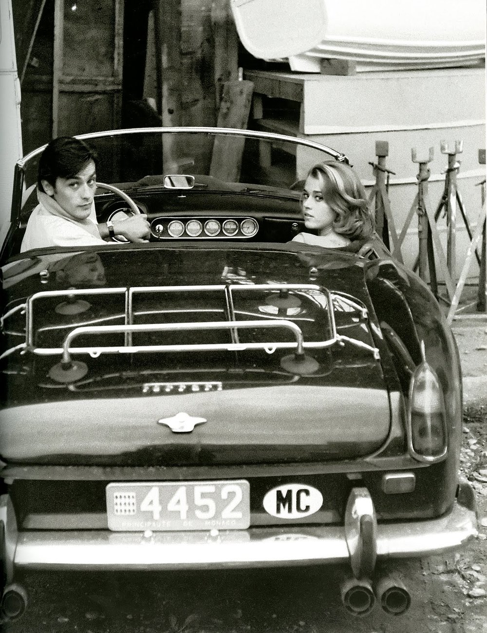 Jane Fonda with first husband Roger Vadim in a Ferrari 250 spyder