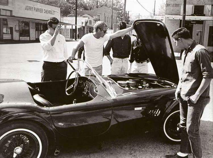 Steve McQueen pops the bonnet on a first gen Cobra