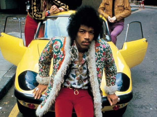 Jimi Hendrix with a Lotus Elan