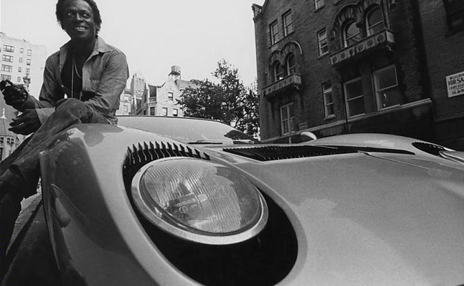 Legendary jazz trumpeter Miles Davis with his Lamborghini Muira