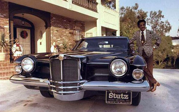 Sammy Davis Jnr at home with his mid '70s Stutz Blackhawk