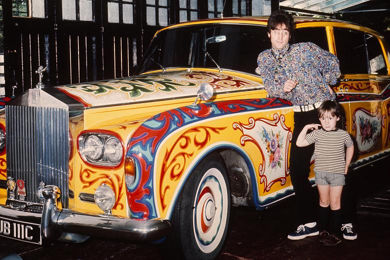 John Lennon with son Julian and his psychedelic Rolls Royce