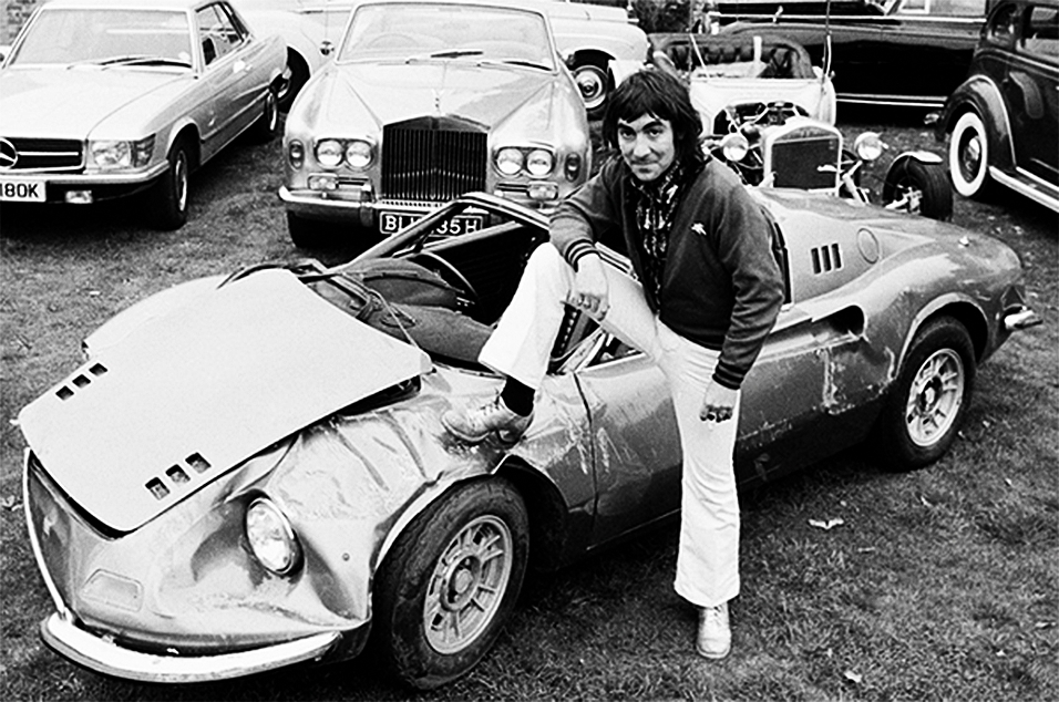 The Who's Keith Moon with his wrecked Dino Spyder