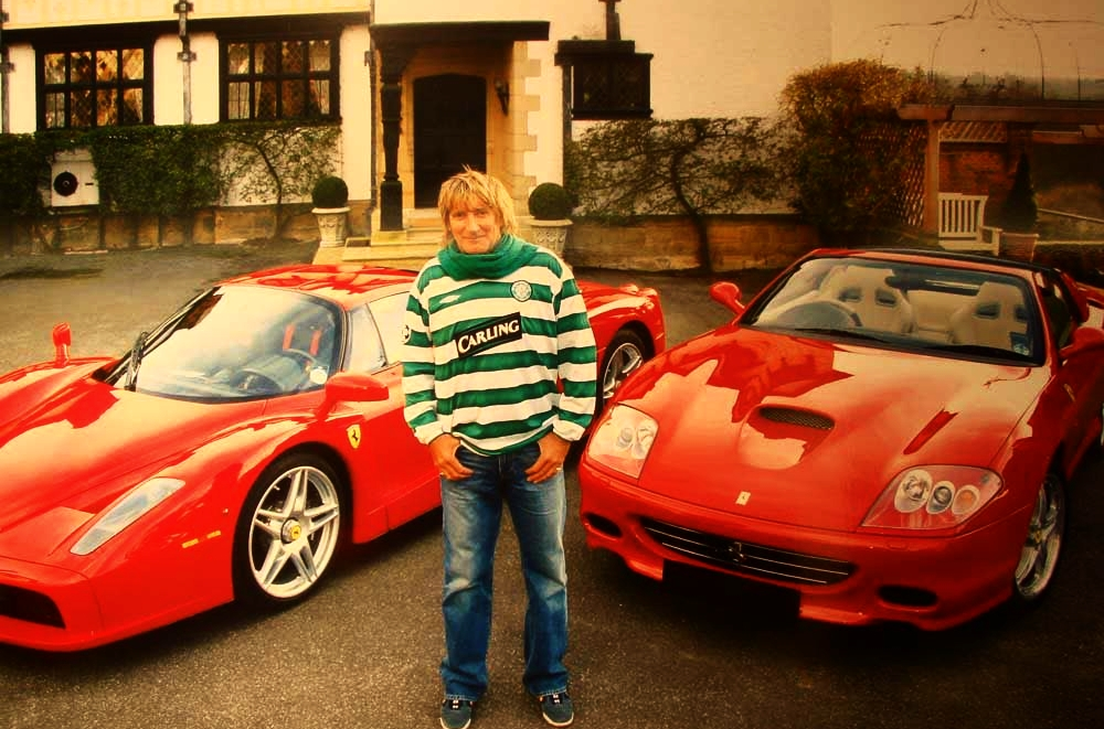 Rod Stewart shows off his Ferraris