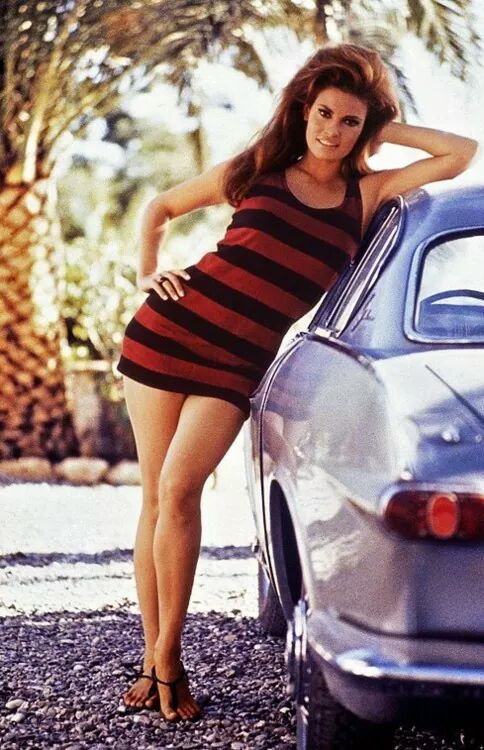 Raquel Welch with a Volvo P1800