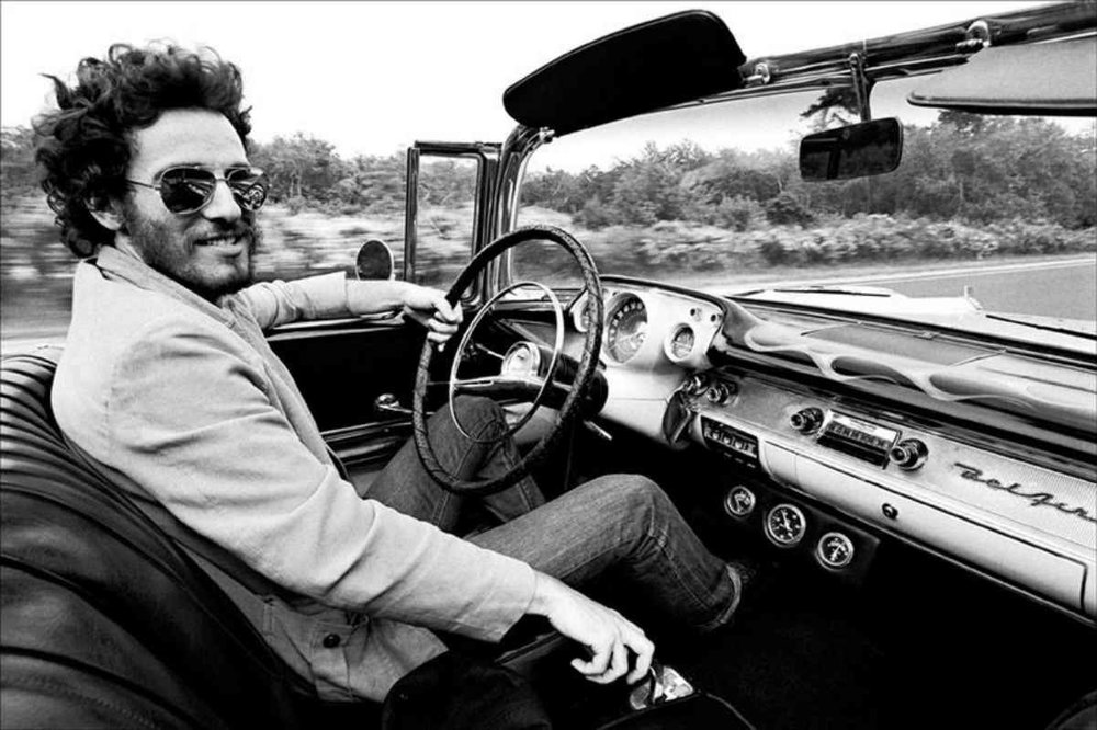 The Boss and his customised '57 Chev Bel Air, circa 1975