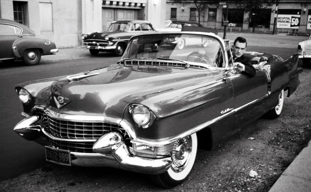 Hugh Herfner and a '56 Cadillac